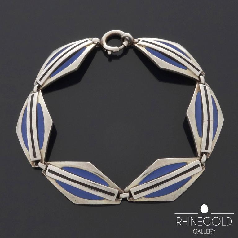 1920s Theodor Fahrner Art Deco Matte Enamel Silver Bracelet 5