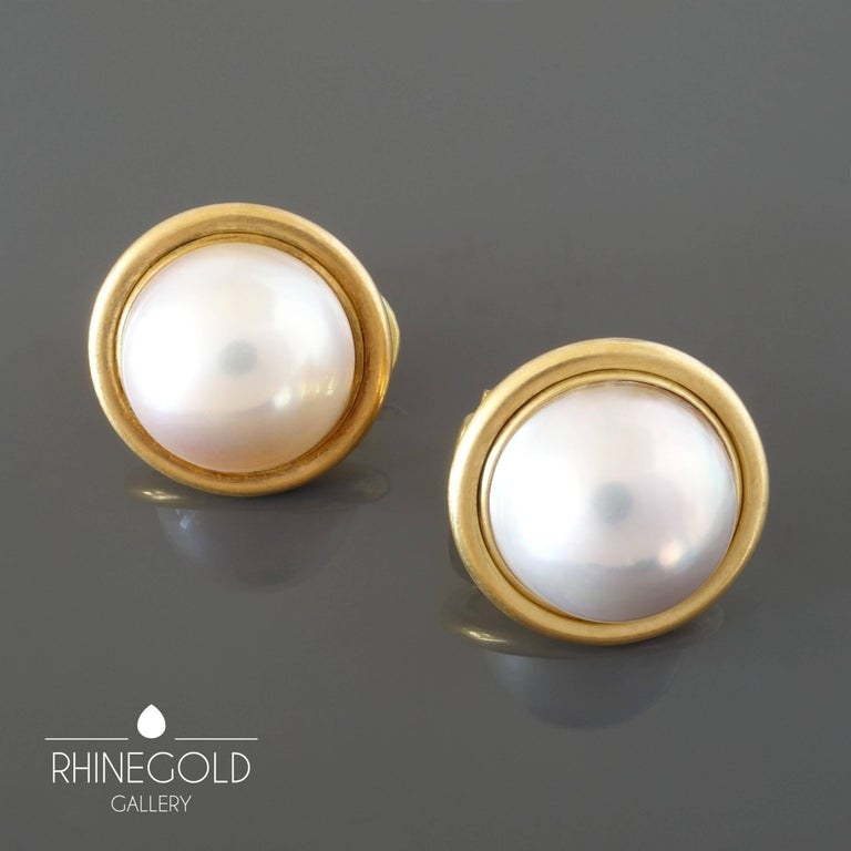 Women's 1990s Modern Mabe Pearl Matte Gold Clip-On Earrings For Sale
