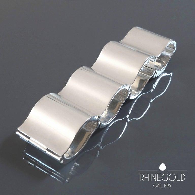 Nanna Ditzel for Georg Jensen 'Surf' Silver Bracelet #432 For Sale 1