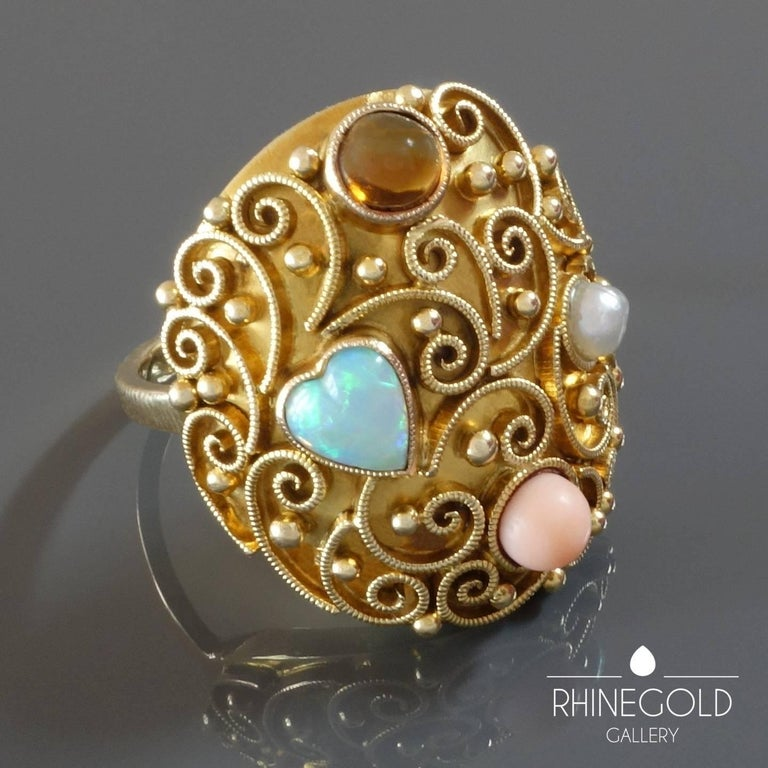 Women's Unique German 1920s Opal Heart Angelskin Coral Citrine Pearl Gold Cocktail Ring For Sale