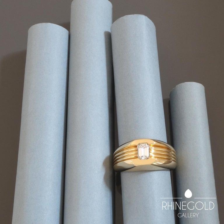 Modernist Carl Bucherer Emerald Cut Diamond Rose Gold Gents Men's Ring For Sale