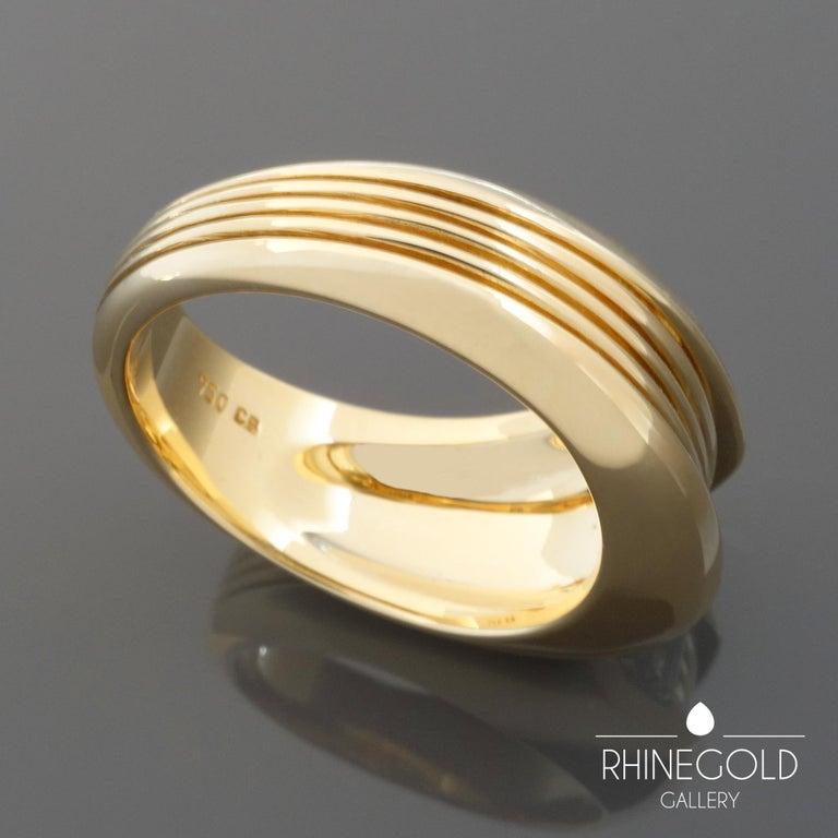 Women's or Men's Carl Bucherer Emerald Cut Diamond Rose Gold Gents Men's Ring For Sale
