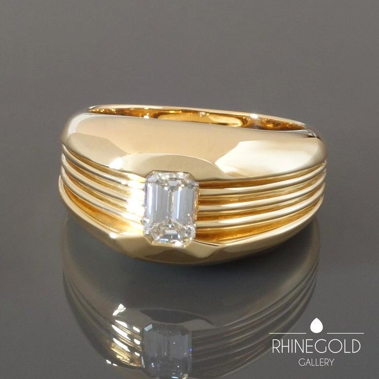Carl Bucherer Emerald Cut Diamond Rose Gold Gents Men's Ring For Sale 1