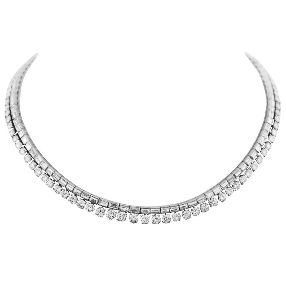 30 Carat Brilliant and Baguette Diamond Platinum Riviere Necklace