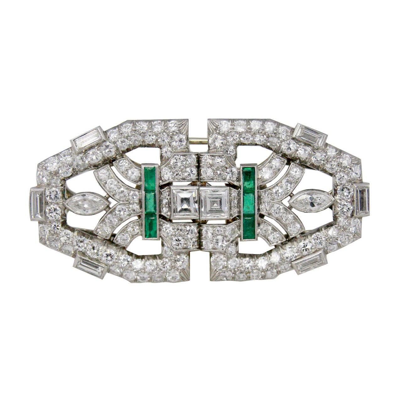 8 Carat Art Deco Double Clip Emerald Diamond Platinum Brooch