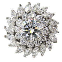 2.05 Carat Round Diamond Platinum Cluster Ring