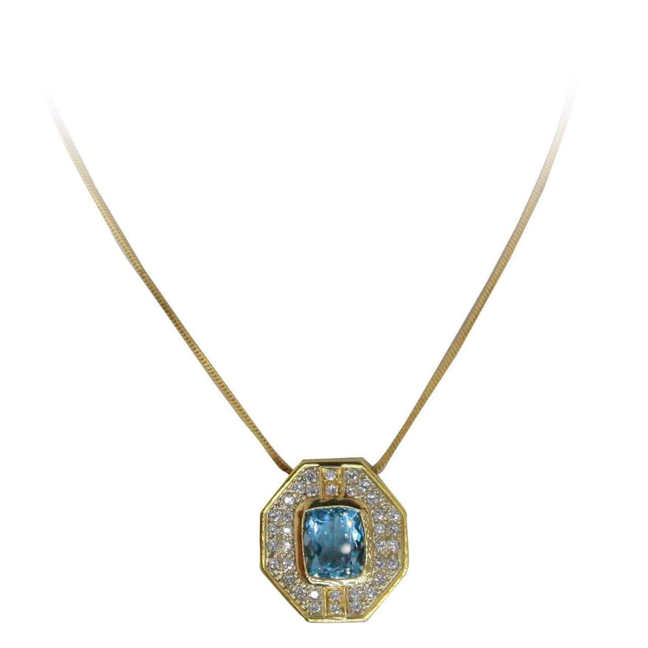 5.5 Carat Aquamarine & Diamond Gold Pendant Necklace 1