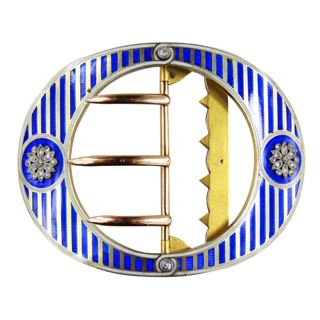 Cartier Paris Rare Blue Enamel Diamond Vermeil Belt Buckle