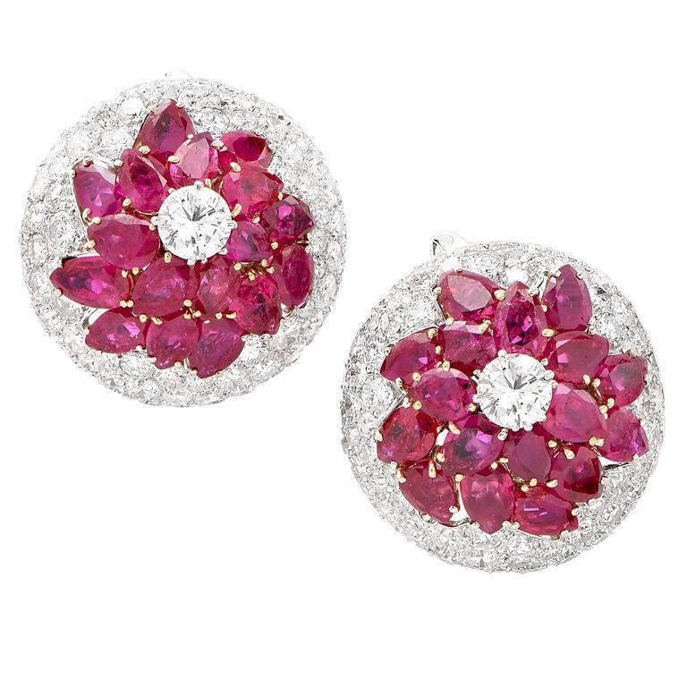 Burmese Ruby and Diamond Earrings