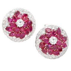 Burmese Ruby and Diamond Earrings