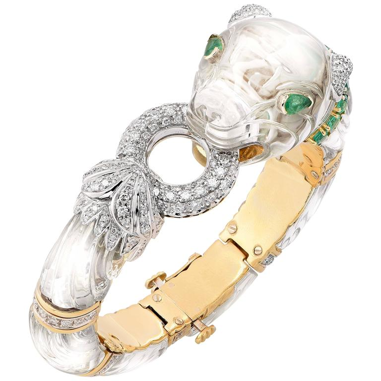 Rock Crystal Emerald Diamond Gold Panther Bangle Bracelet