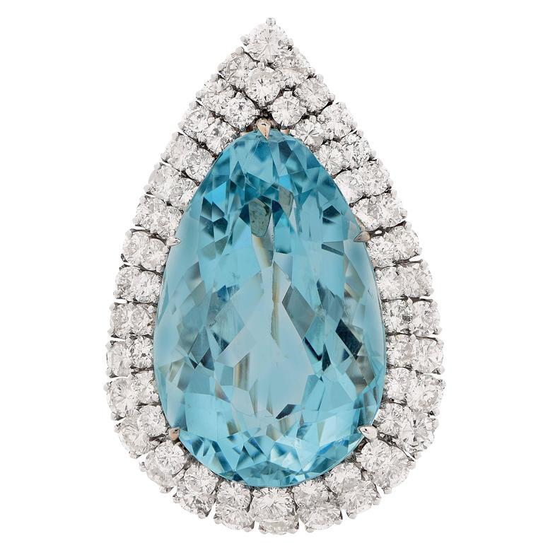 Aquamarine and Diamond Platinum Brooch