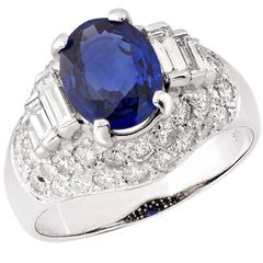 3.98 Carat Natural Blue Sapphire and Diamond Ring