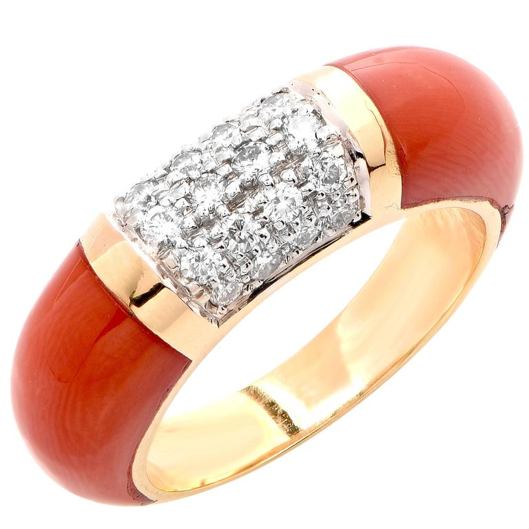 Coral Diamond Yellow Gold Ring For Sale at 1stdibs
