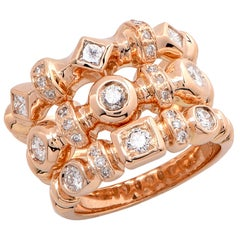 Set of Three Diamond Rose Gold Rings