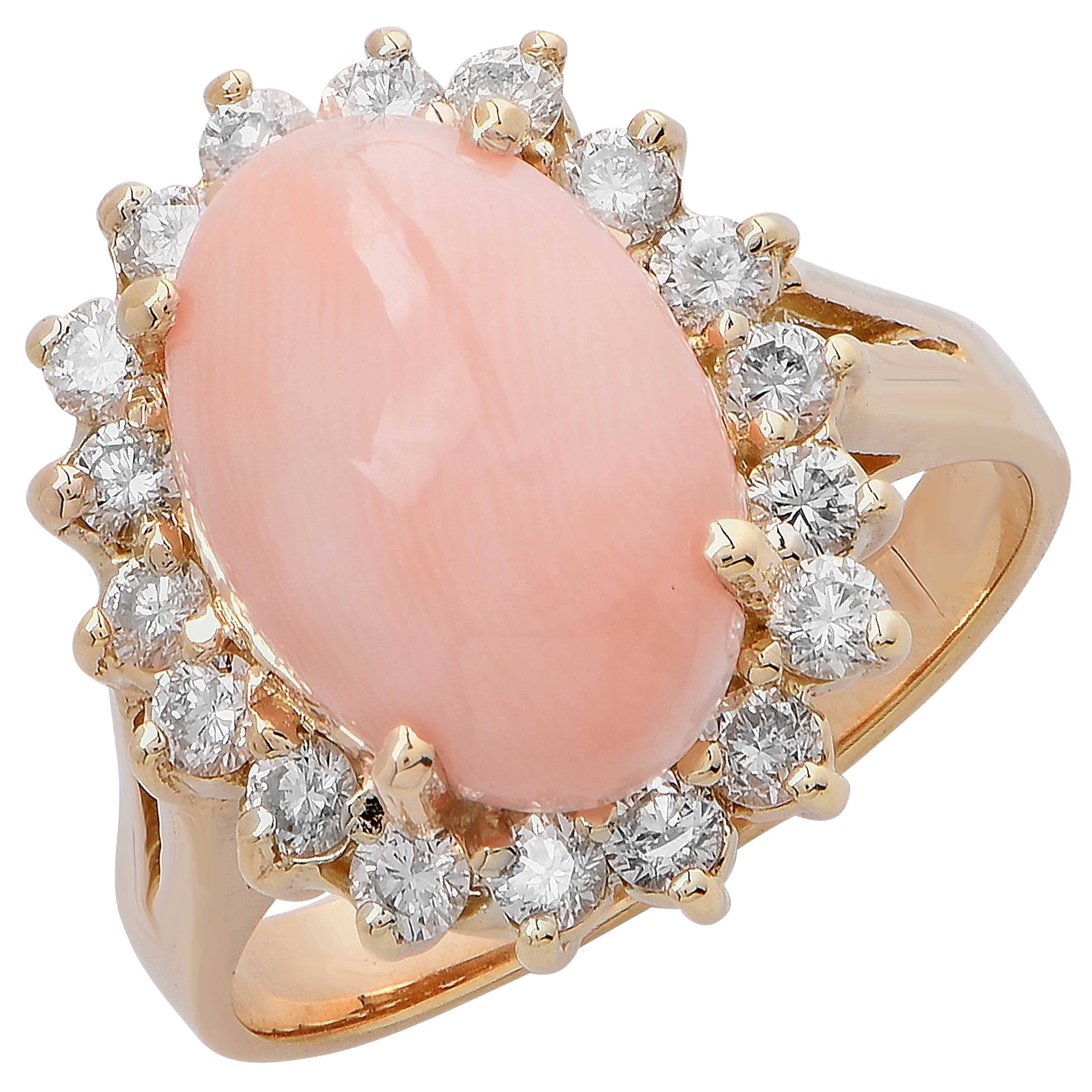 Chantecler Angel Skin Coral and Diamond Ring For Sale at 1stdibs