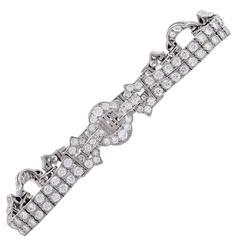 5.5 Carat Diamond Art Deco Platinum Bracelet