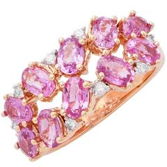 3.12 Carat Pink Sapphire and Diamond Rose Gold Ring
