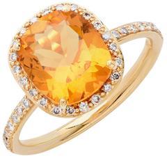 2.3 Carat Citrine and Diamond Ring
