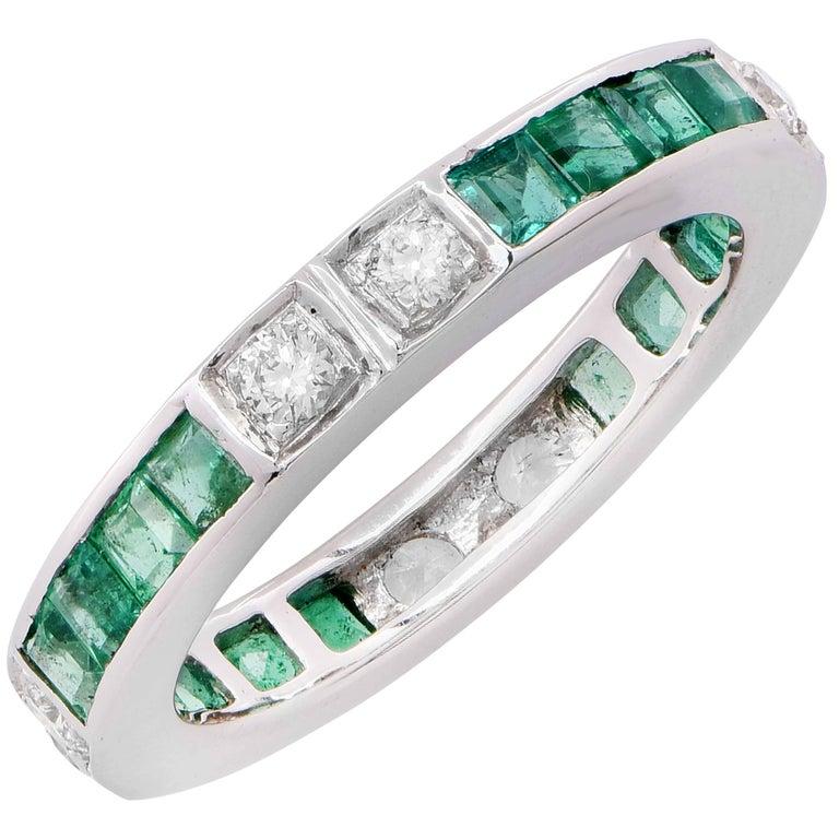 Emerald Diamond White Gold Band Ring