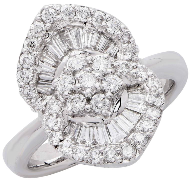 1.25 Carat Diamond White Gold Flower Cocktail Ring For Sale