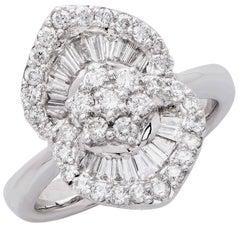 1.25 Carat Diamond White Gold Flower Cocktail Ring