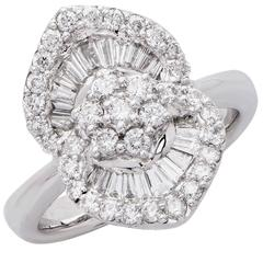 1.25 Carat Diamond White Gold Flower Cocktail Ring