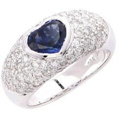 1.5 Carat Heart Shape Blue Sapphire and Diamond Ring
