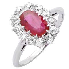 2 Carat Natural Ruby and Diamond Ring
