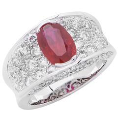2.35 Carat Natural Ruby Diamond White Gold Ring