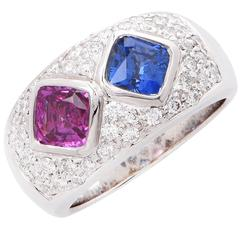 Pink and Blue Sapphire Diamond White Gold Ring