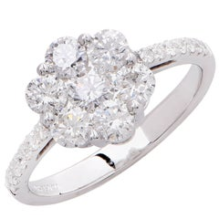1.3 Carats Diamonds White Gold Flower Ring