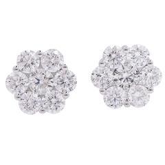 2.75 Carats Diamonds Gold Flower Earrings