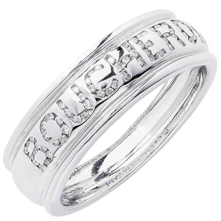 Boucheron Diamond White Gold Wedding Band Ring For Sale