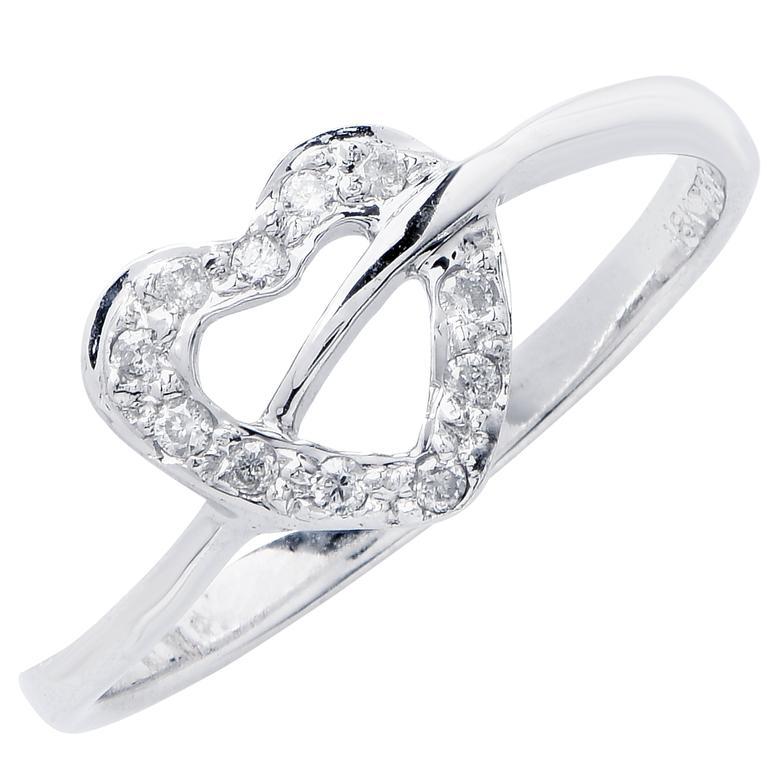 Petite Heart Diamond White Gold Ring