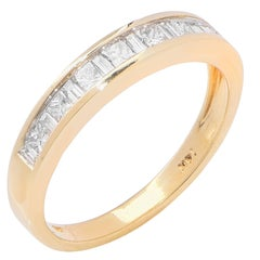 Channel Set Diamond Yellow Gold Band Ring