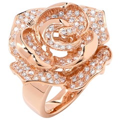 Diamond Rose Gold Rose Motif Ring