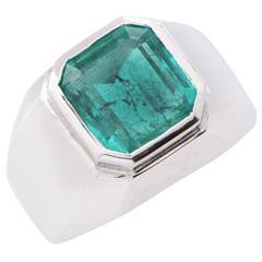 8 Carat Natural Emerald Cut Emerald White Gold Men's Ring