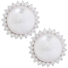Tiffany & Co. South Sea Cultured Pearl and Diamond Earrings