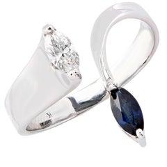 Ultra Modern Sapphire Diamond white gold Ring