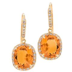 Citrine Diamond Yellow Gold Drop Earrings