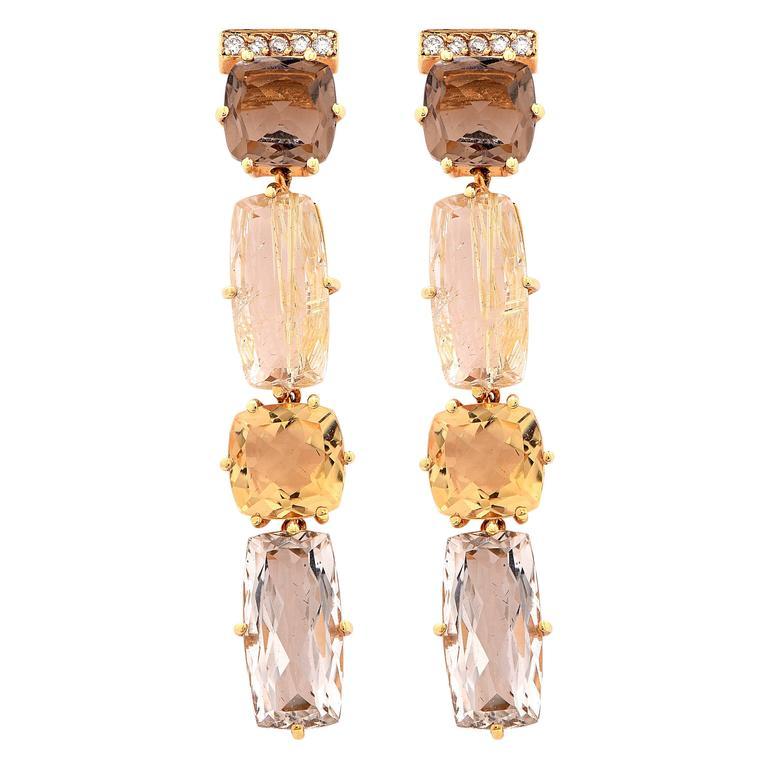 Rutilated Smoky and Murion Quartz Citrine Diamond Yellow Gold Earrings