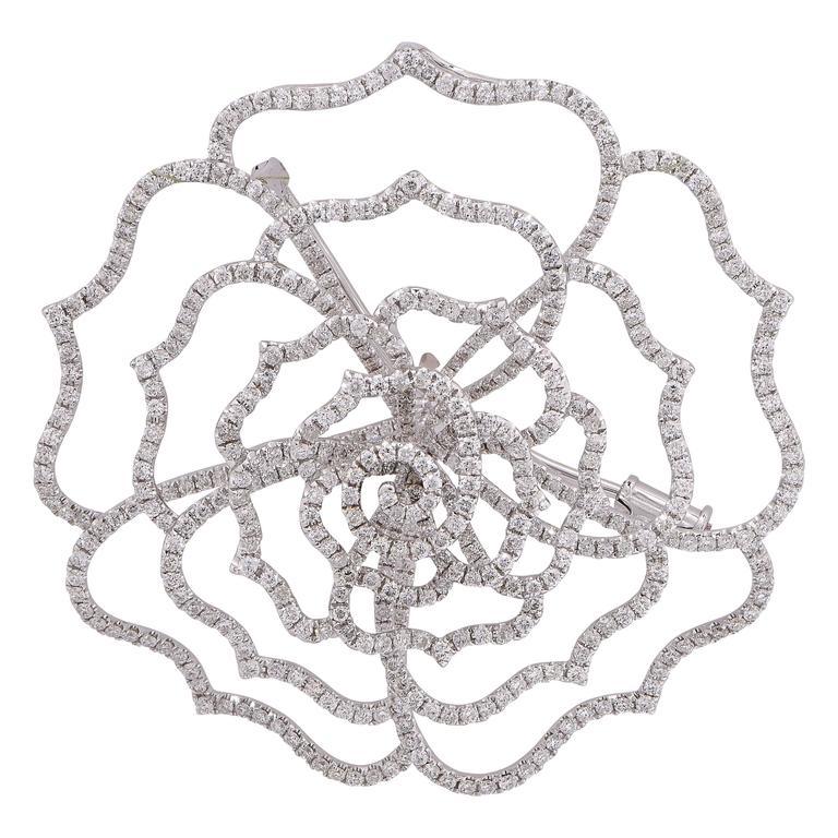Rose Shaped 3.75 Carat Diamond White Gold Pendant Brooch