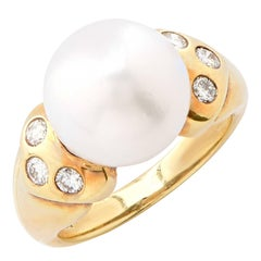 Cultured Pearl Diamond Gold Ring