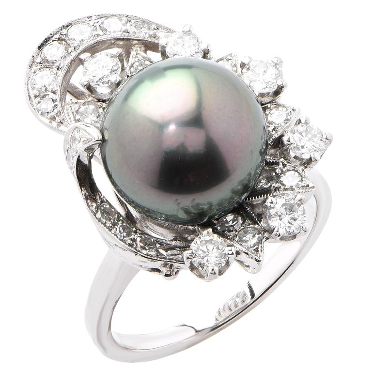 tahitian pearl white gold ring for sale at 1stdibs