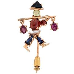 Unique Gemstone Gold Water Bearer Brooch