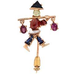 Unique Gemstone Gold Water Bearer Brooch