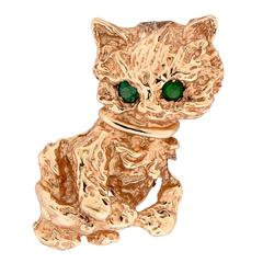 Yellow Gold Cat Brooch with Emerald Eyes