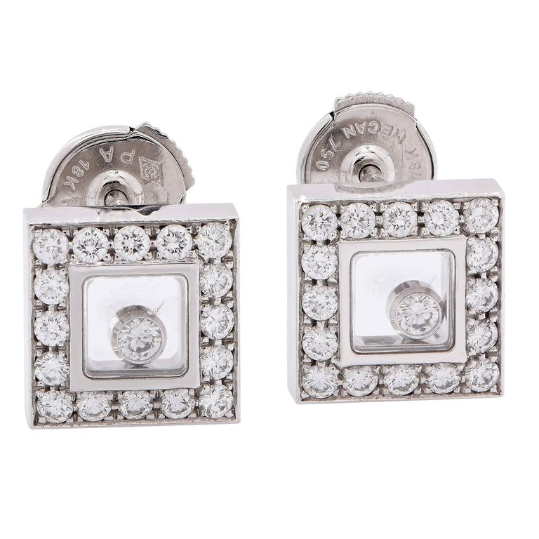 Chopard Happy Diamonds White Gold Earrings For Sale