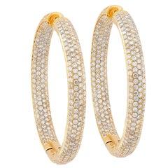 5.6 Carat Diamond Yellow Gold Hoop Earrings